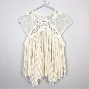 Free People Crochet Eyelet Top sz S